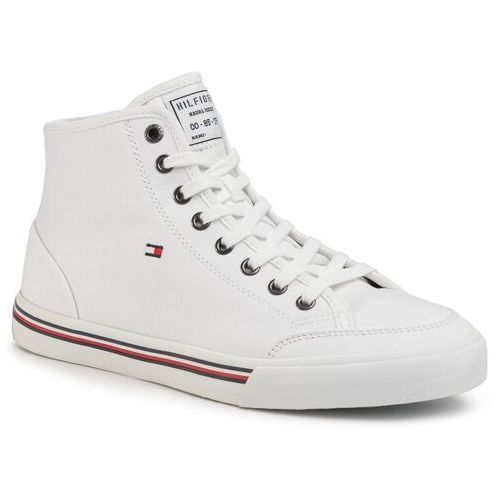 Tommy hilfiger Sneakersy - core corporate high textile snk fm0fm02825 white ybs