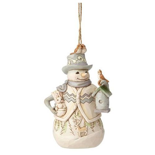 Jim shore Bałwanek zawieszka white woodland snowman with birdhouse (hanging ornament) 6001418