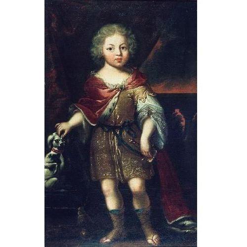 obraz Portret Konstantego Władysława Sobieskiego królewicz jako dziecko z pieskiem (obraz)