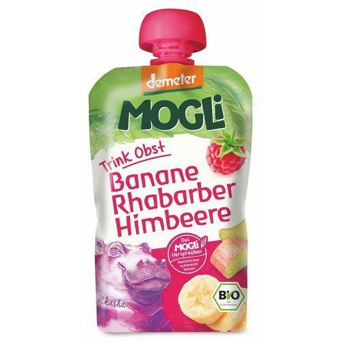 Mogli (moothie owocowe, batony, napoje) Moothie przecier bananowy z rabarbarem i maliną bio 100 g - mogli