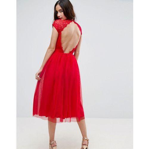 Asos premium lace tulle midi prom dress - red