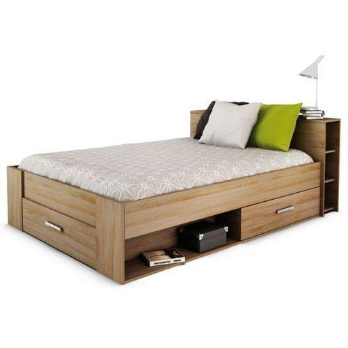 Łóżko leonis z półkami - 140 × 190 cm - szczotkowany dąb marki Vente-unique