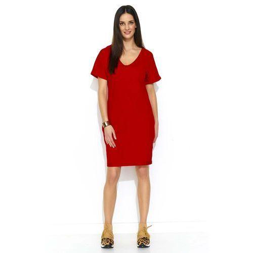 Czerwona Dzianinowa Letnia Sukienka z Kieszeniami, letnia
