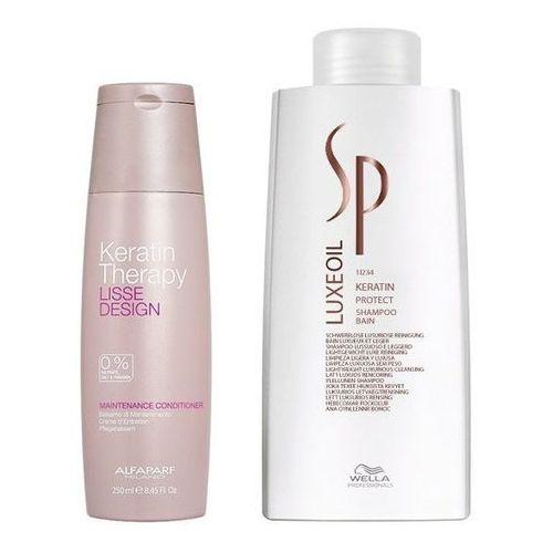 Alfaparf keratin therapy maintenance and sp luxe oil keratin | zestaw wygładzająco-regenerujący: odżywka 250ml + szampon 1000ml