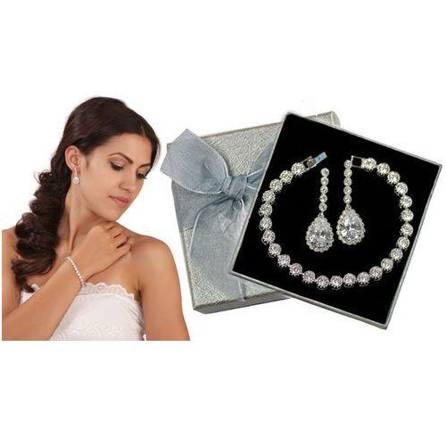 Kpl871 komplet ślubny, biżuteria ślubna z cyrkoniami k599/544 b599/543