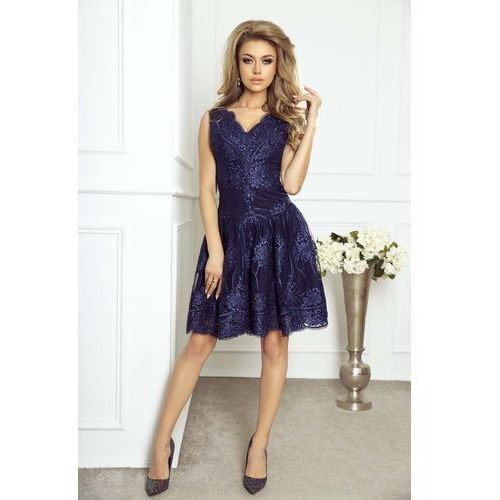 9dcdfb6306 Wieczorowa Rozkloszowana Sukienka z Gipiury