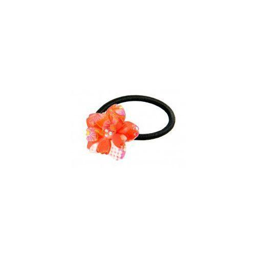 Gumka do włosów - czerwony kwiat