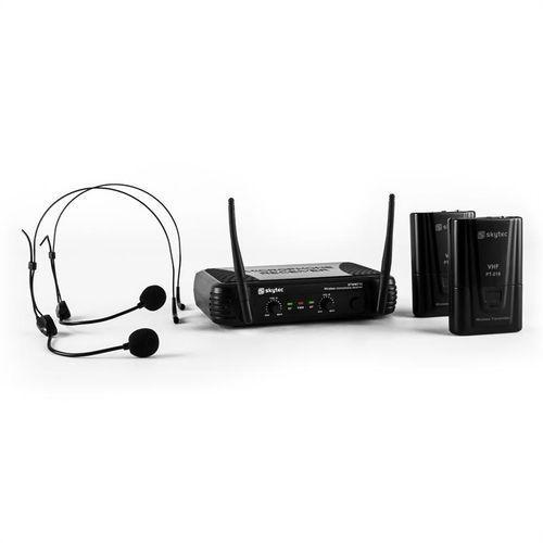 Skytec stwm712h zestaw mikrofonów bezprzewodowych vhf 2 x słuchawki marki Power dynamics