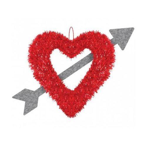 Amscan Dekoracja na walentynki wiszące serce przebite strzałą - 41 cm