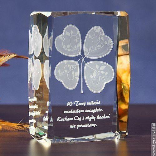 Koniczynka Miłości 3D ♥ personalizowany kryształ 3D średnia • GRAWER 3D