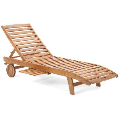 Leżak ogrodowy z drewna egzotycznego na kółkach akacja lux marki H&g