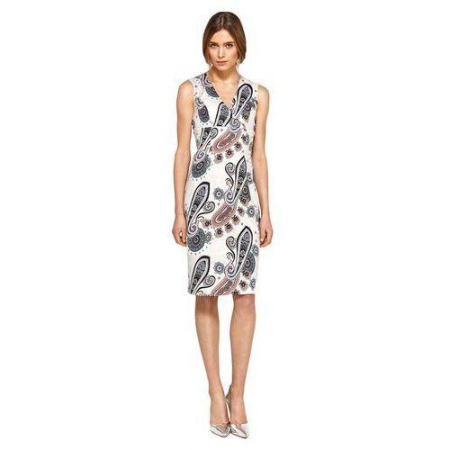 Ołówkowa sukienka z dekoltem v - wzór - s98 marki Nife