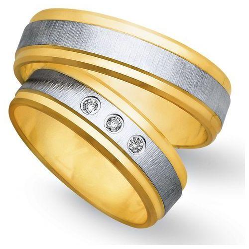 Obrączki z żółtego i białego złota 6mm - O2K/080 - produkt dostępny w Świat Złota