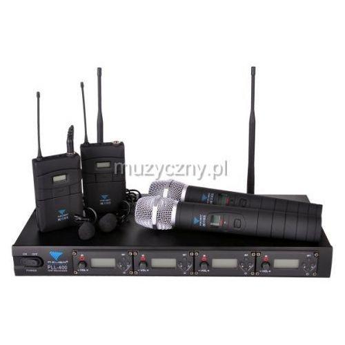 Azusa pll 400, poczwórny mikrofon bezprzewodowy 2x doręczny + 2x krawatowy
