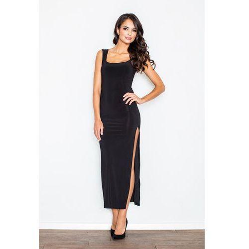 Czarna Wieczorowa Maxi Sukienka z Długim Rozporkiem, w 4 rozmiarach