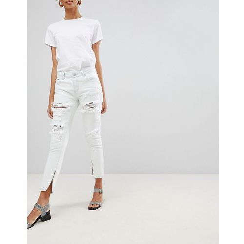 ripped skinny jeans with zip detail - blue marki Glamorous