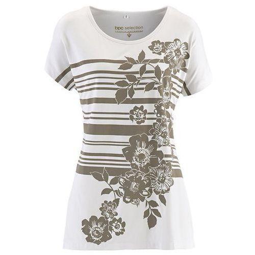 Shirt, krótki rękaw  biel wełny - brunatny z nadrukiem, Bonprix, 36-58