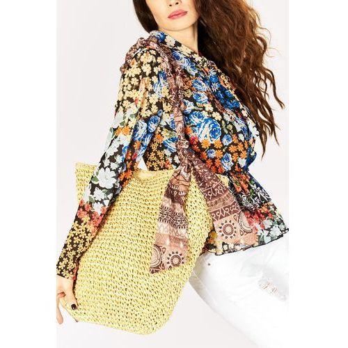 Słomkowa torba z chustą ❤️❤️, kolor żółty