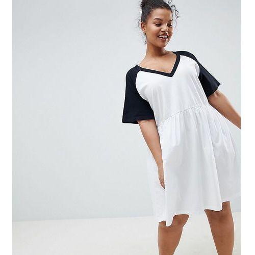 Asos design curve smock dress with v neck and contrast sleeves - white marki Asos curve