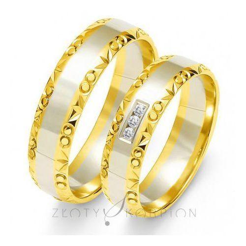 Obrączki ślubne z bialego i żółtego złota z kamieniami - produkt dostępny w Jubiler Cieszyn