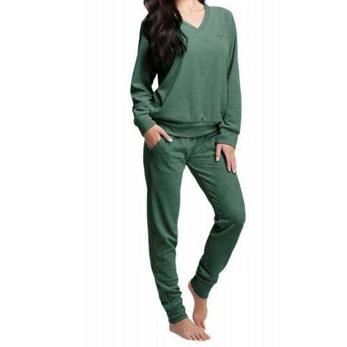 Welurowy dres damski komplet 306 zielony, Luna