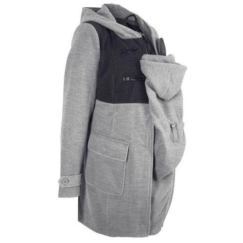 Płaszcz budrysówka ciążowy z wstawką niemowlęcą na nosidełko szary melanż marki Bonprix