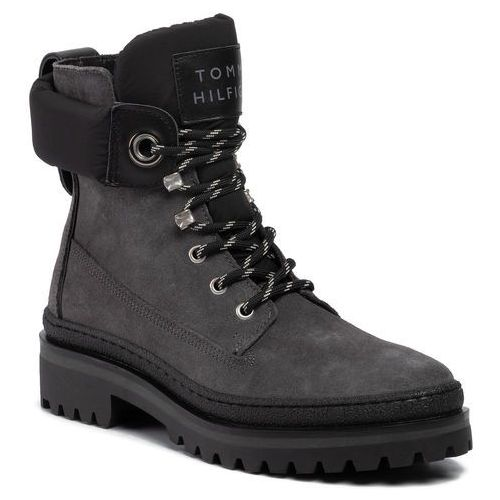 Trapery - sporty outdoor lace up bootie fw0fw04343 gunmetal 099 marki Tommy hilfiger