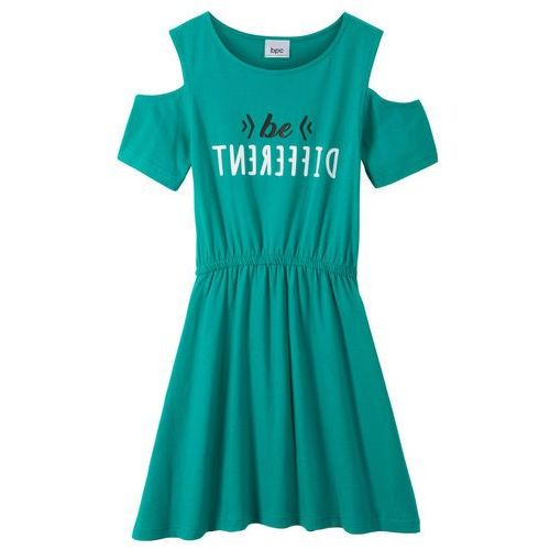 568bbc47b2 Sukienka dziewczęca z wycięciami na ramionach szmaragdowy marki Bonprix  32