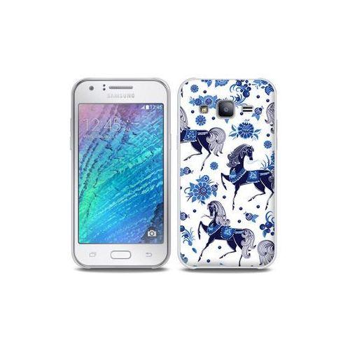 Samsung Galaxy J5 - etui na telefon Full Body Slim Fantastic - folkowe niebieskie konie, kolor niebieski