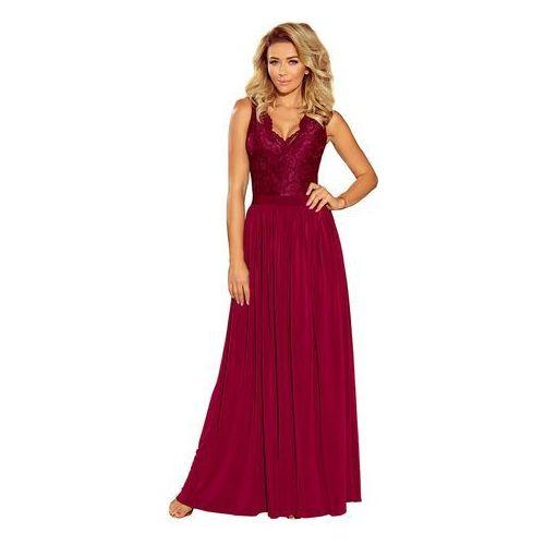 Numoco Bordowa wieczorowa sukienka maxi z koronkową górą bez rękawów