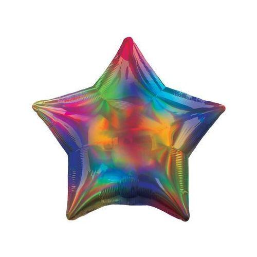 Balon foliowy gwiazdka opalizujący tęczowy - 46 cm - 1 szt. marki Amscan