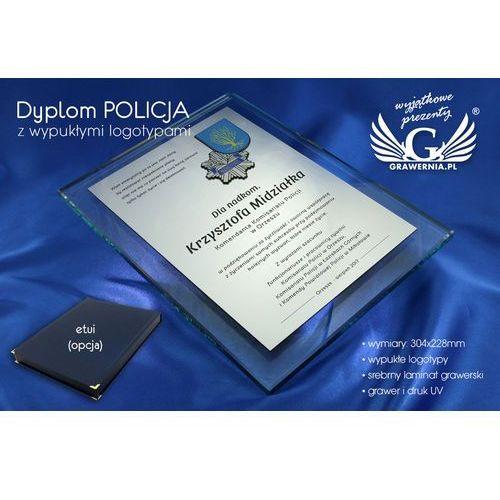 DYPLOM SZKLANY POLICJA - DSZ030 - pionowy - dwa kolorowe logotypy