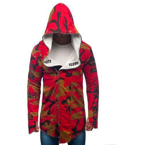 Bluza męska z kapturem z nadrukiem moro-czerwona denley 0796-1, Athletic