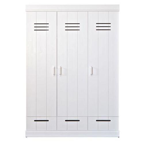 Szafa CONNECT standard, trzydrzwiowa z szufladami, drążkiem i półkami, biała 360306-GOW, Woood