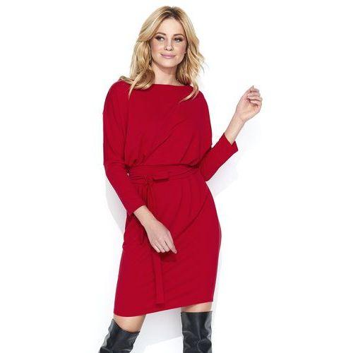 19fc325f4f Dresowa czerwona sukienka bombka z kimonowym rękawem marki Makadamia 129