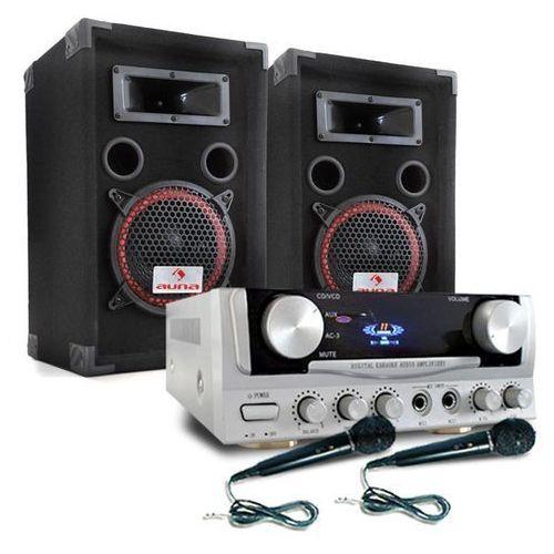 """PA """"Easy"""" zestaw DJ wzmacniacz kolumny mikrofon 1000W"""