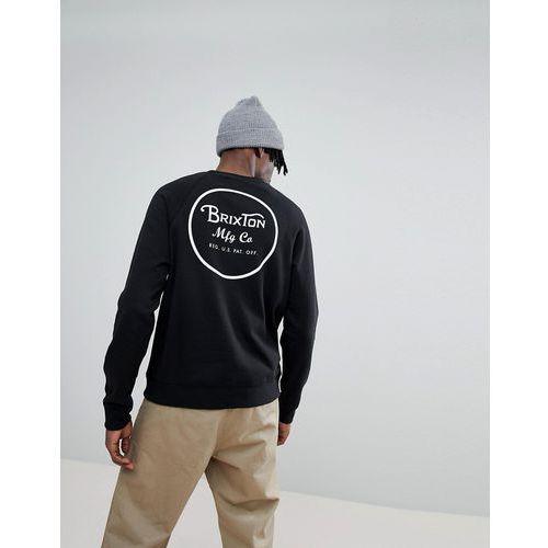 Brixton Wheeler Sweathshirt With Back Print In Black - Black