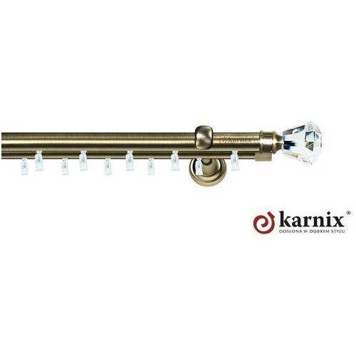 Karnisz szynowy aspen podwójny 19/19mm clarex crystal antyk mosiądz, marki Karnix