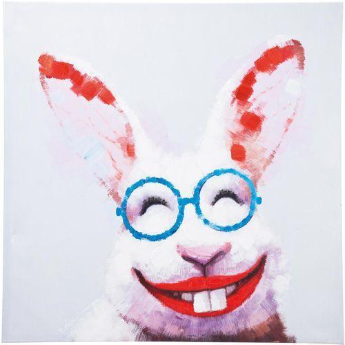 Kare Design Touched Happy Rabbit Obraz, Ręcznie Malowane Drewno Jodły Płótno 80x80cm - 35422 (obraz)