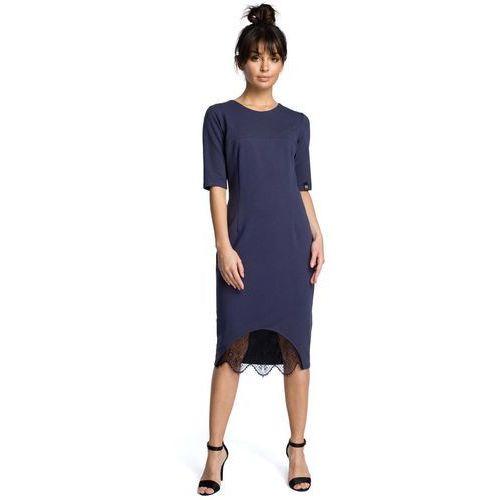 cd69c3a6a958ff Niebieska Dopasowana Sukienka Midi z Koronką, w 5 rozmiarach 125,90 zł  Materiał: bawełna 90% elastan 10%.dostępne rozmiary: S (36), M (38), L  (40), XL (42), ...