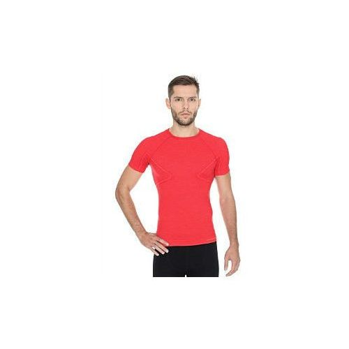 8513f5ae24125b Koszulka męska Brubeck Active Wool krótki rękaw - czerwony 92,99 zł Koszulka  męska z niedługim rękawem ACTIVE WOOL – to przeciętnej grubości wełniana ...