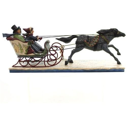 Jim shore Zimowy kulig - para w saniach i koń victorian couple in sleigh sanie 4047674 figurka ozdoba świąteczna