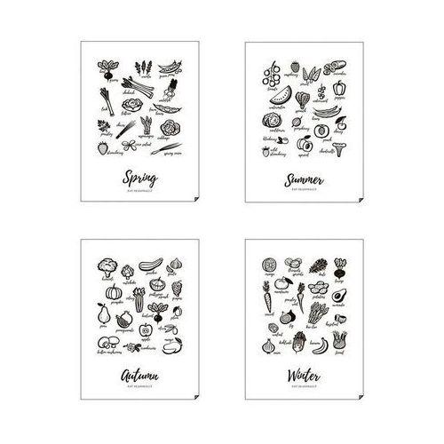 Plakat Spring, Summer, Autumn, Winter - Eat Seasonally 4 szt. 30 x 40, 4seasons-3040