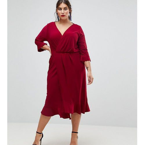 Asos curve wrap front midi dress with frill detail - red