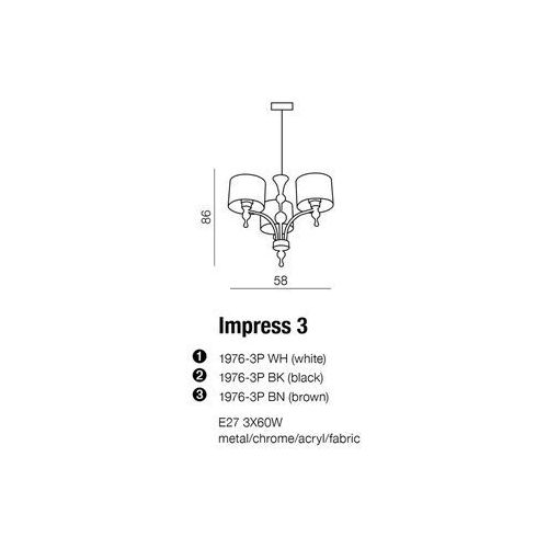 Lampa Impress 3 White AZzardo, 1976-3P WH
