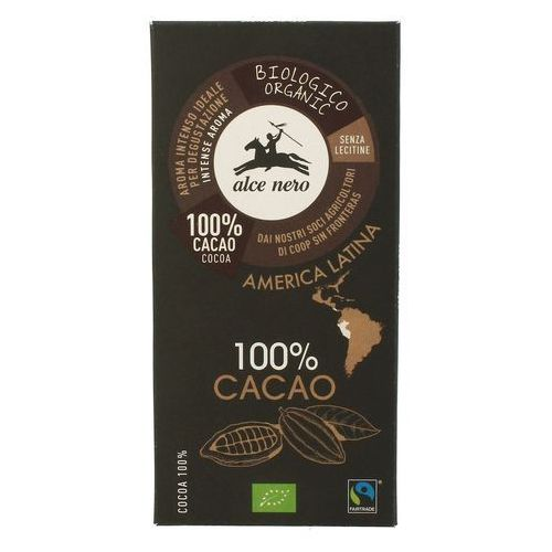 Czekolada, tabliczka gorzka 100% kakao ft bio 50 g alce nero marki Alce nero (włoskie produkty)
