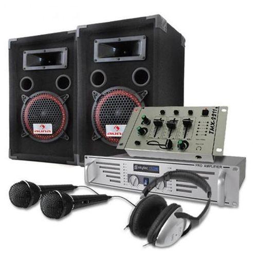 Elektronik-star Zestaw pa dj 1000w kolumny wzmacniacz mikser mikrofon