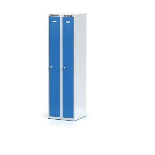 Metalowa szafka ubraniowa, wąska, niebieskie drzwi, zamek obrotowy