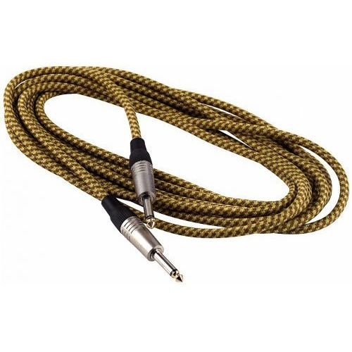 kabel instrumentalny - straight ts (6.3 mm / 1/4), braided cloth mantle, gold - 5 m / 16.4 ft. marki Rockcable