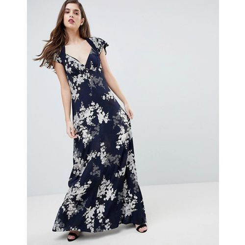 French Connection Floral Print Maxi Dress - Navy, kolor niebieski